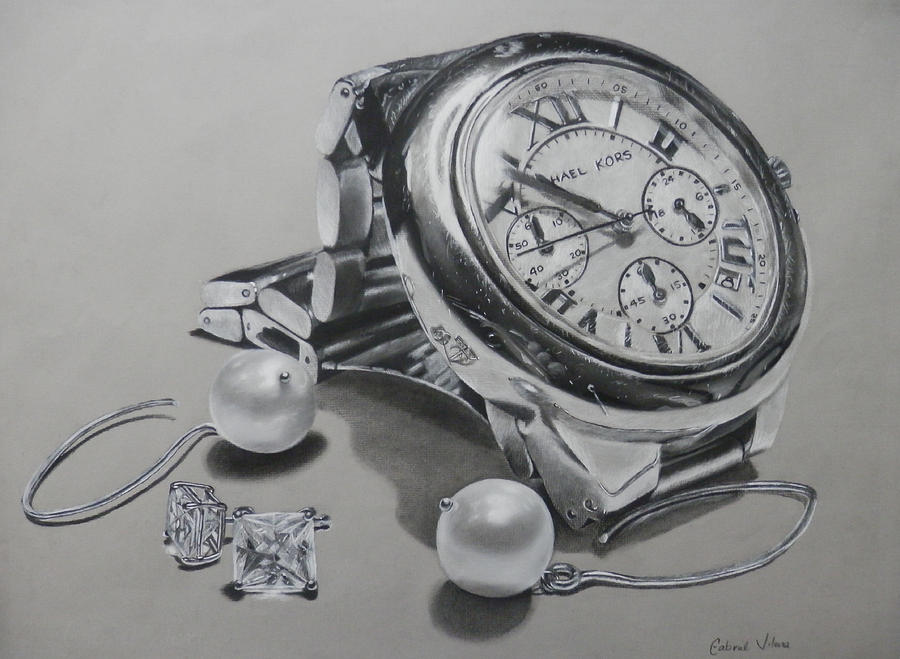 Watch And Earrings Drawing By Gabriel Viloria