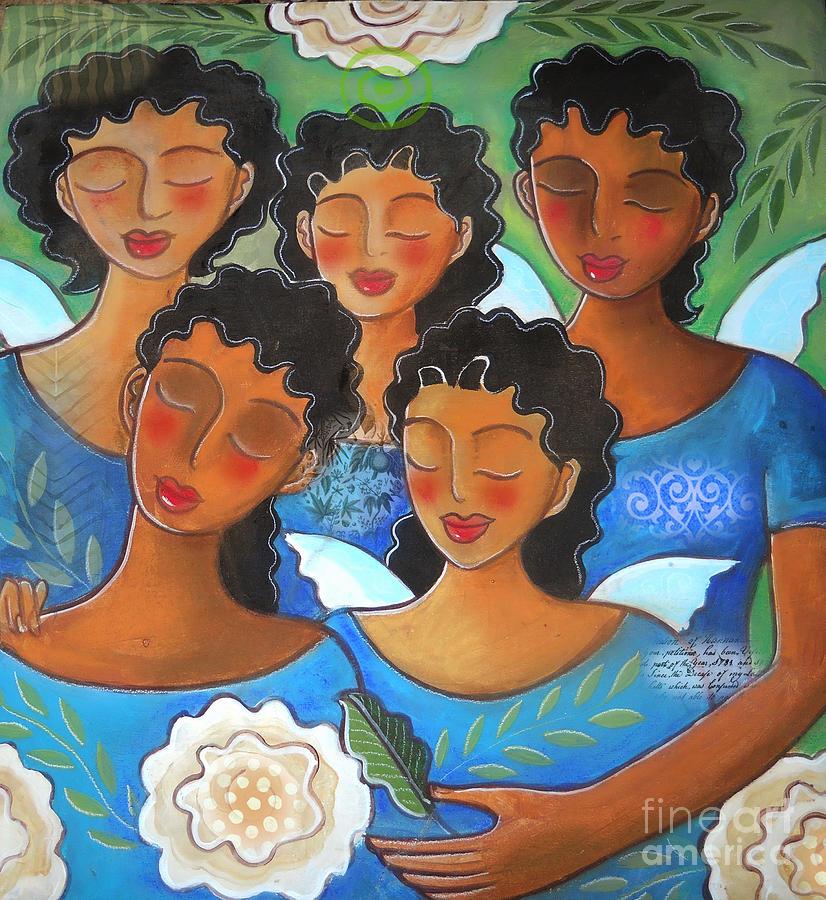 Ladies Digital Art - Watched by Angels by Elaine Jackson
