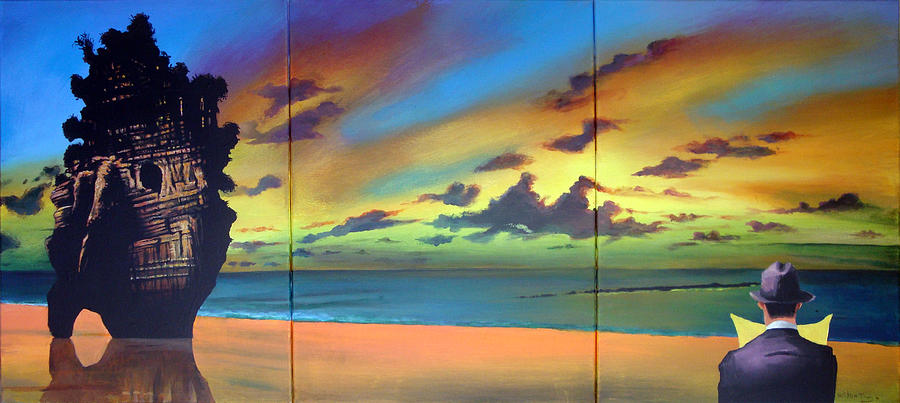Sunset Painting - Watcher On The Beach by Geoff Greene