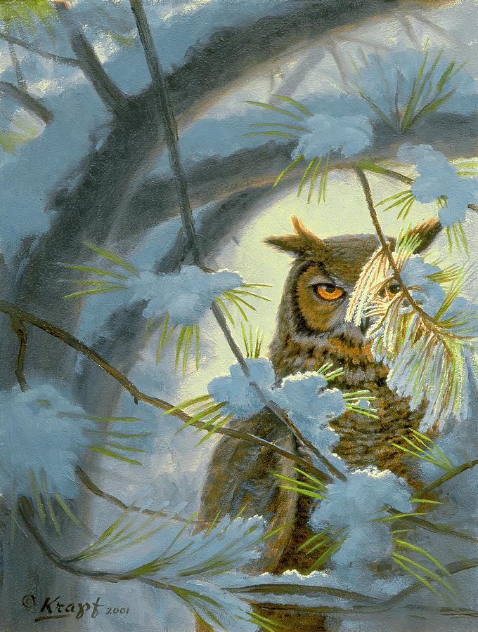 Wildlife Painting - Watchful Eye-owl by Paul Krapf