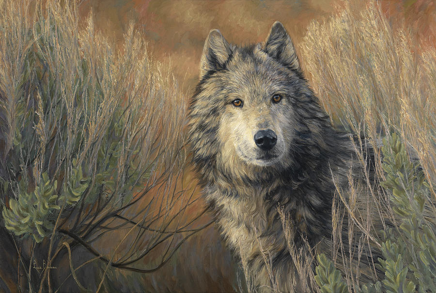 Wolf Painting - Watchful by Lucie Bilodeau