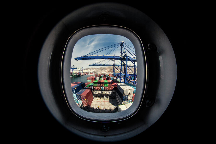 Window Photograph - Watching A Container Ship Being Loaded by Tim Martin