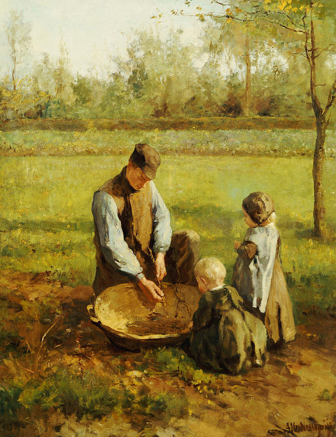Autumn Painting - Watching Father Work by Albert Neuhuys