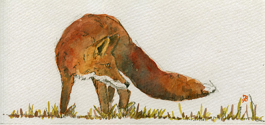 Red Painting - Watching Red Fox by Juan  Bosco