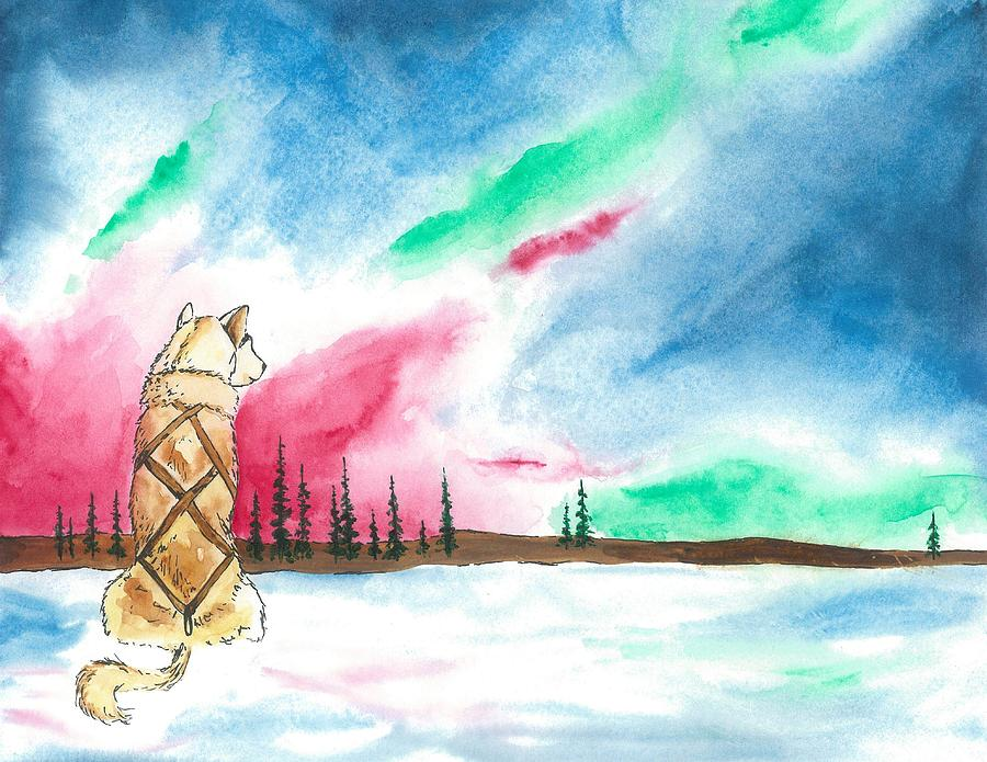 Northern Lights Painting - Watching The Lights by Sarah Glass