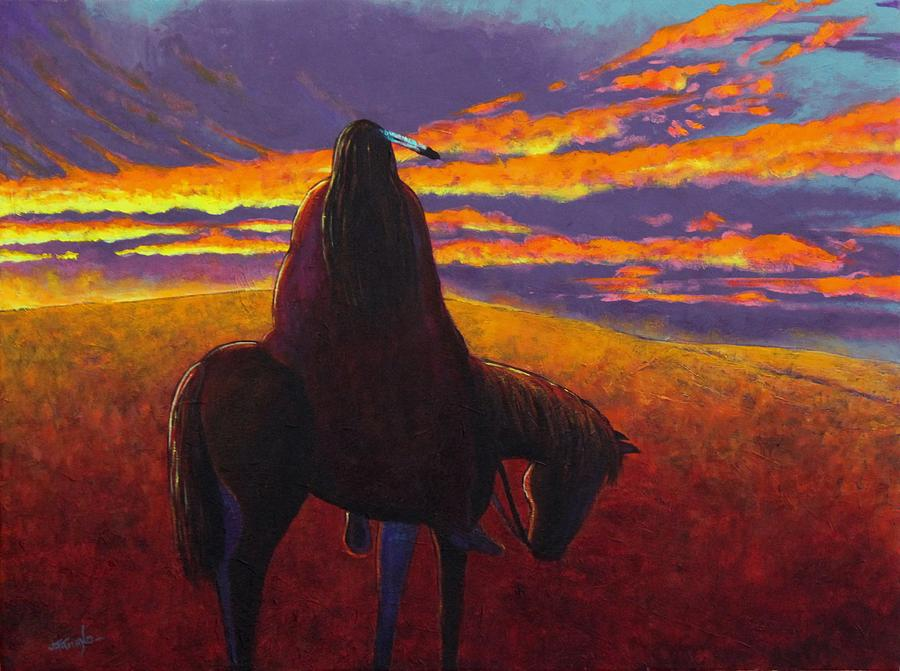 Native American Indian Painting - Watching The Magic  by Joe  Triano