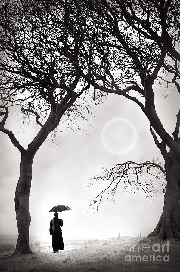 Woman Photograph - Watching The Moon by Lee Avison
