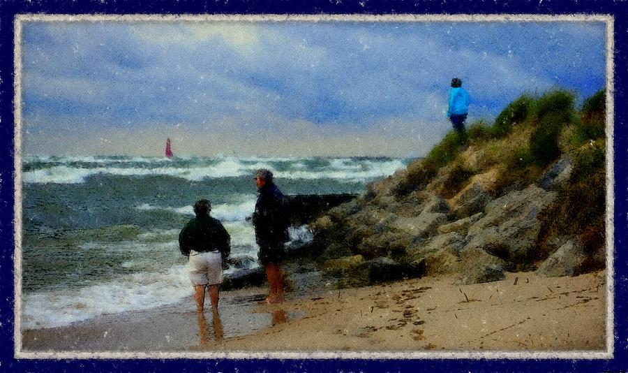 Watching The Storm Come In Rectangle Fine Artwork For Coastal Living Home Lake Front Home Landscape Water Scape Great Lake Of Michigan Lake Michigan Muskegon West Michigan Big Waves  Dolomite Rocks Boulders Steel Pier Dune Grass High Winds Big Waves Foot Prints In The Sand Storm Clouds Weather Front Rough Seas Muskegon Lighthouse Rosemarie E Seppala's Great Lakes Shoreline Gallery Artwork Livingroom Dining Room Guest Room Lake Michigan Great Lakes Shoreline Midwest Lakeshore Water Scape Drawing - Watching The Storm Come In by Rosemarie E Seppala