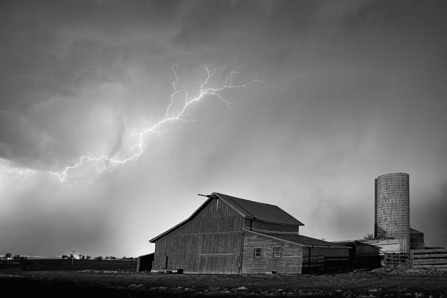 Lightning Photograph - Watching The Storm From The Farm BW by James BO Insogna