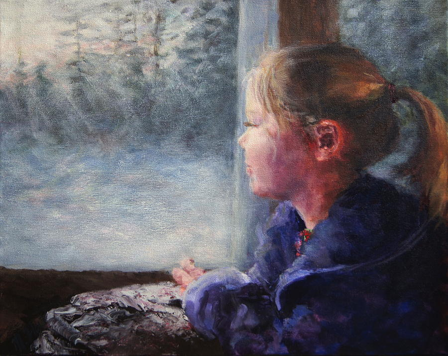 Girl Painting - Watching the Sun Rise by Mary Haas