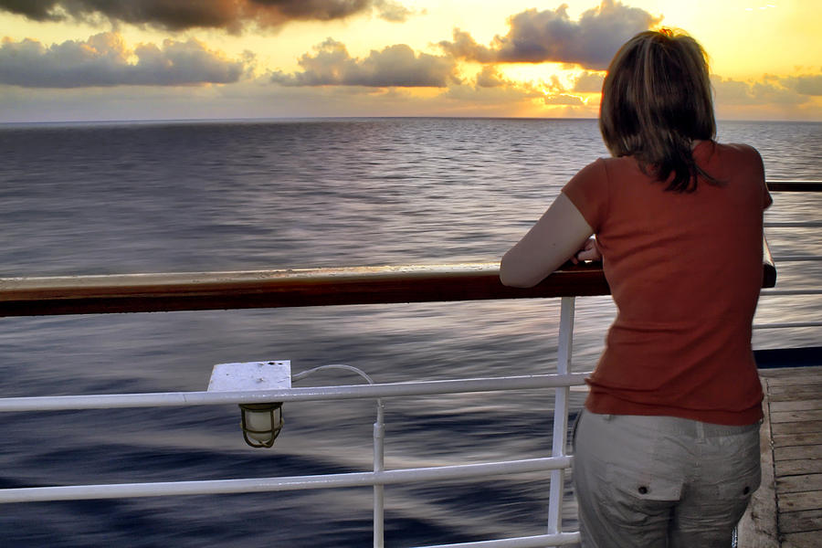 Woman Photograph - Watching The Sunrise At Sea by Jason Politte