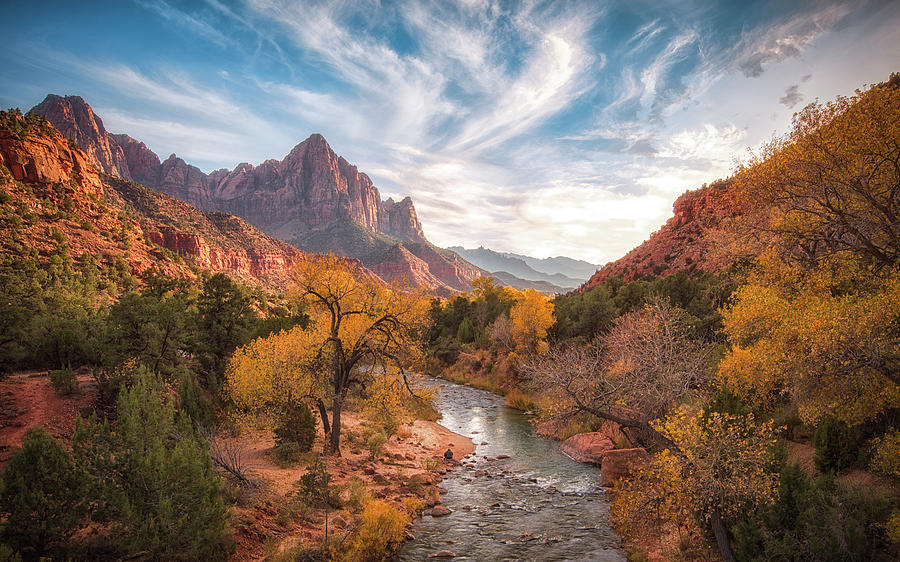 Zion Photograph - Watchman Sunset by Michael Zheng