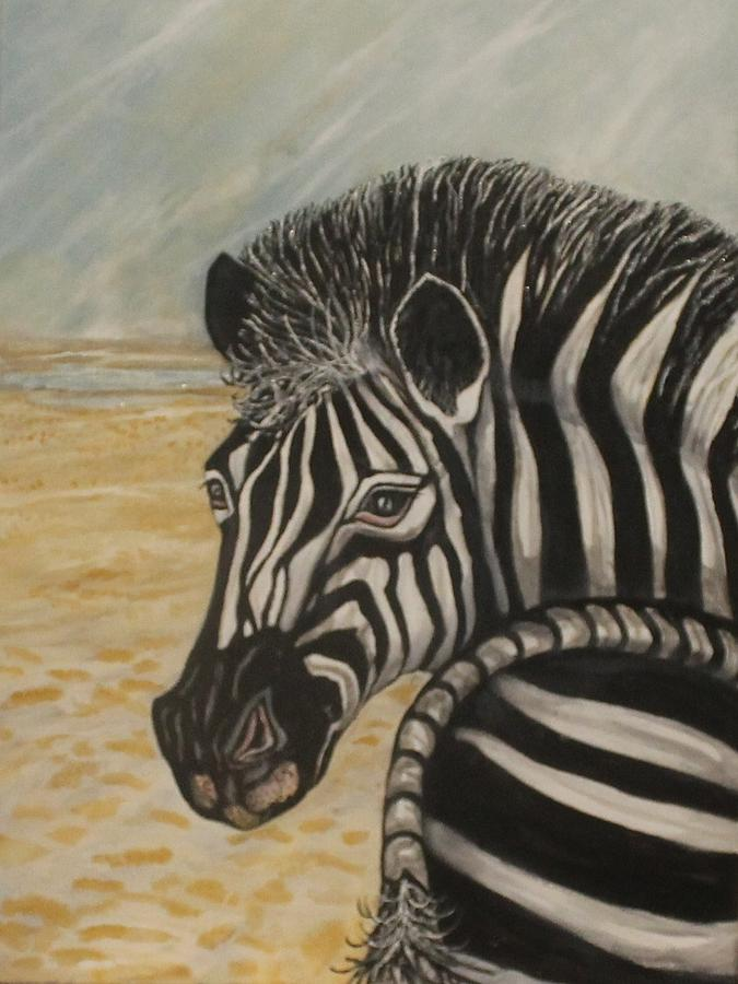 Zebra Painting - Water Ahead by Anne Buffington