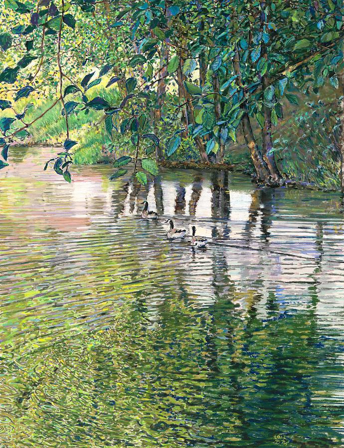 Birdseye Art Studio Painting - Water And Woodland by Nick Payne