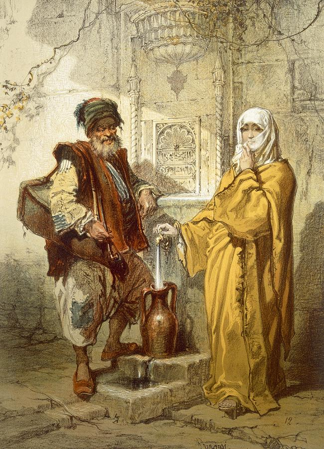Turkey Drawing - Water-carrier, 1865 by Amadeo Preziosi