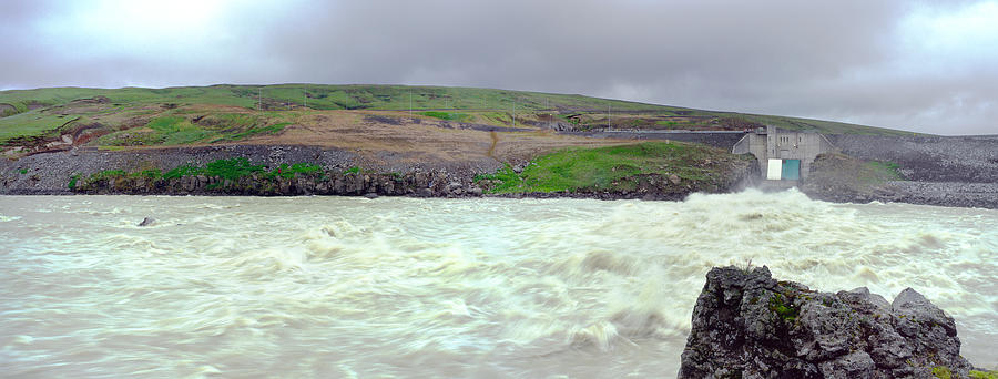 Water Photograph - Water Dam For A Hydropower Plant by Birgir Freyr Birgisson