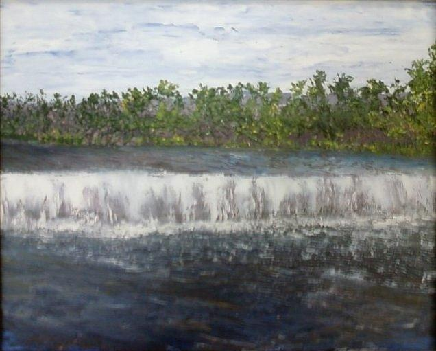 Water Falls Painting - Water Falls over the Dam by Sheila Mashaw