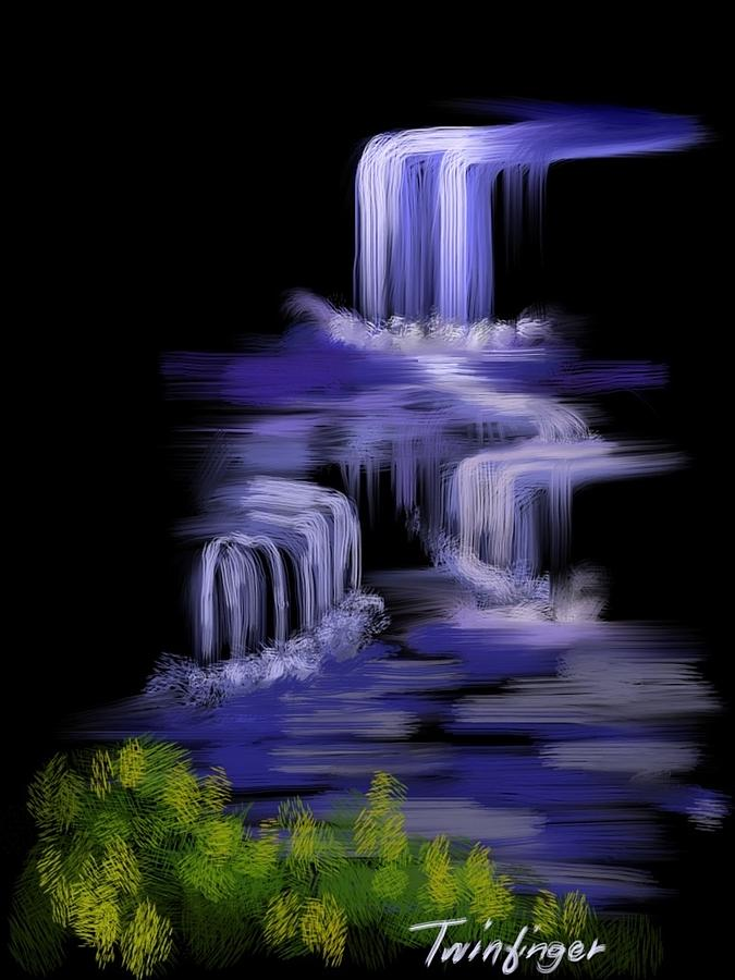 Black Canvas Painting - Water Falls by Twinfinger