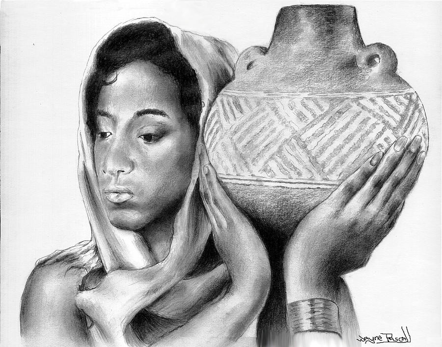 African Drawing - Water From The Well by Wayne Pascall