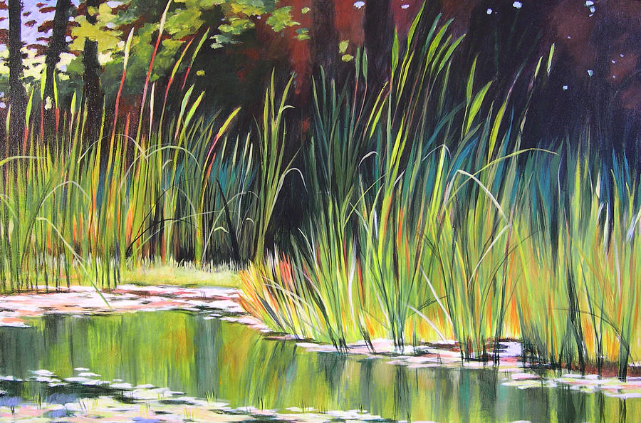 Grass Painting - Water Garden Landscape II by Melody Cleary