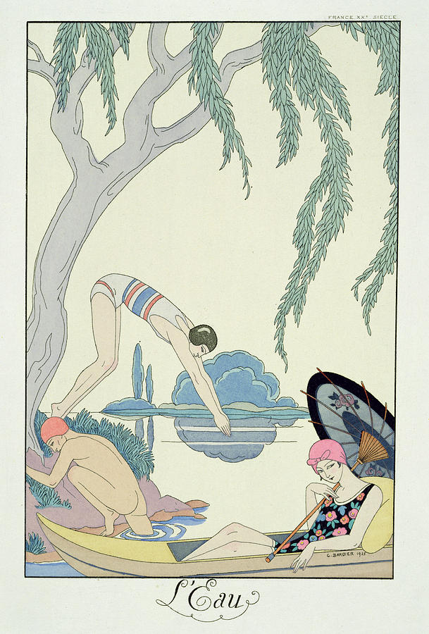 Bathing Painting - Water by Georges Barbier