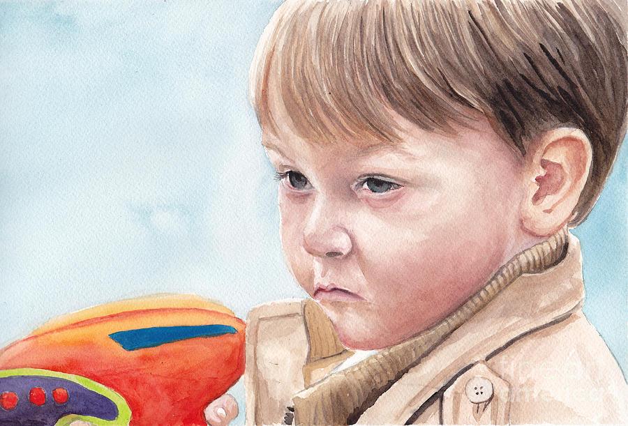 Portrait Painting - Water Gun Threat by Charlotte Yealey