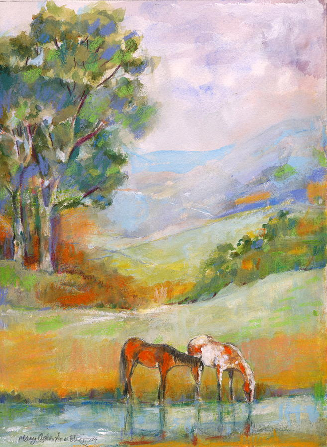 Horses Painting - Water Hole by Mary Armstrong