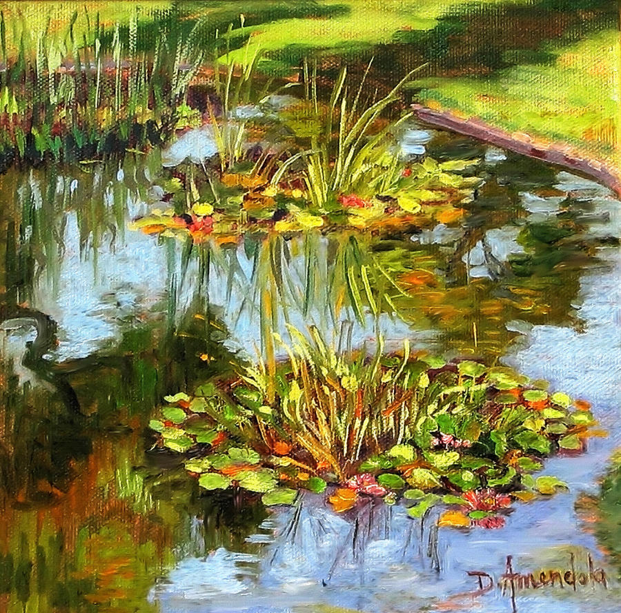 Oil Painting Painting - Water Lilies In California by Dominique Amendola