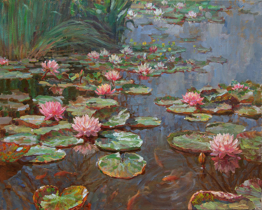 Landscape Painting - Water Lilies by Korobkin Anatoly
