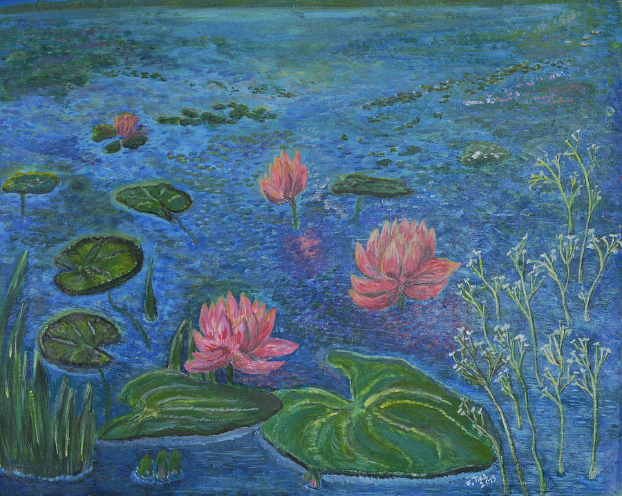 Nature Painting - Water Lilies Lounge 2 by Felicia Tica