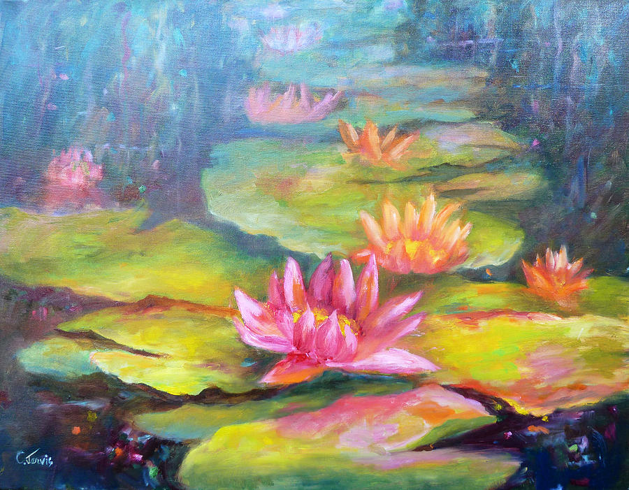 Water Lilly Painting - Water Lilly Pond by Carolyn Jarvis