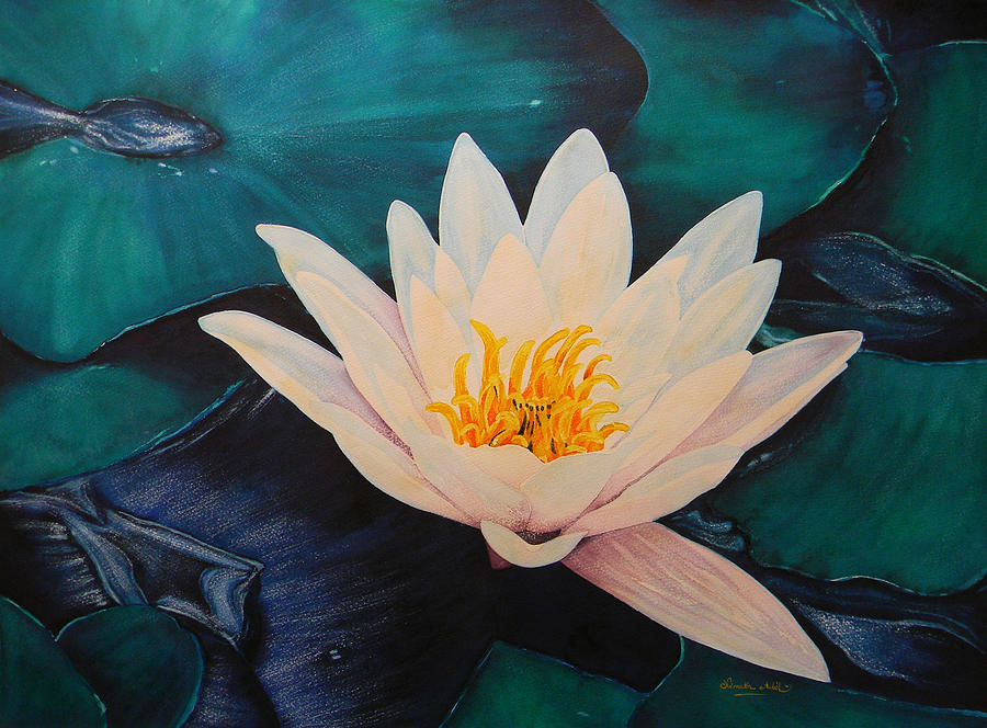 Watercolor Paintings Painting - Water Lily by Adel Nemeth