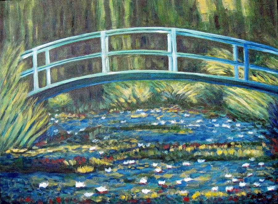 Water Lily Bridge After Monet Painting By Fran Brooks