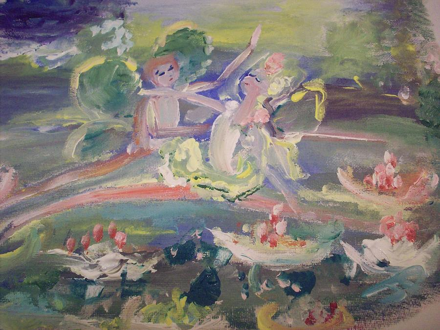 Fairies Painting - Water Lily Fairies by Judith Desrosiers