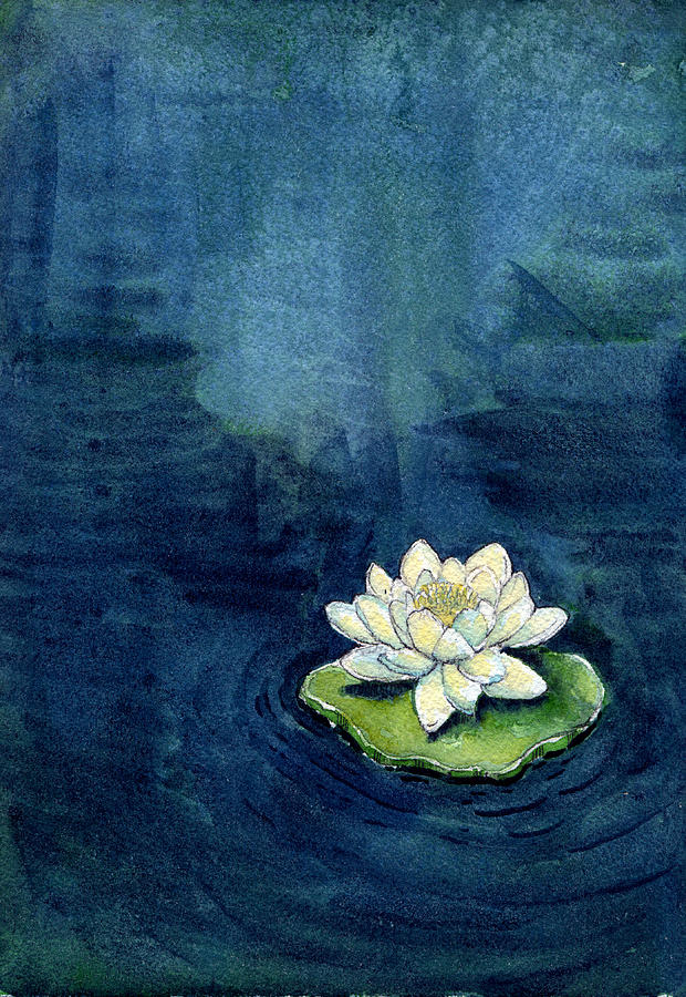 Indigo Painting - Water Lily by Katherine Miller