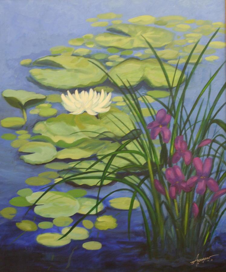 Water Painting - Water Lotus by Sherri Anderson