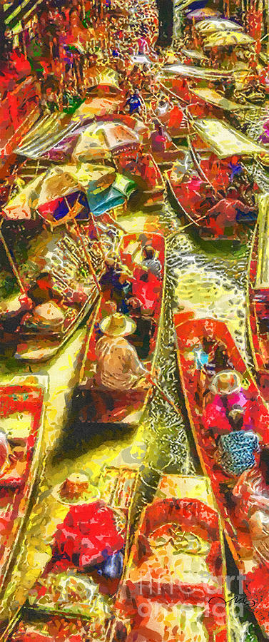 Water Market Painting - Water Market by Mo T