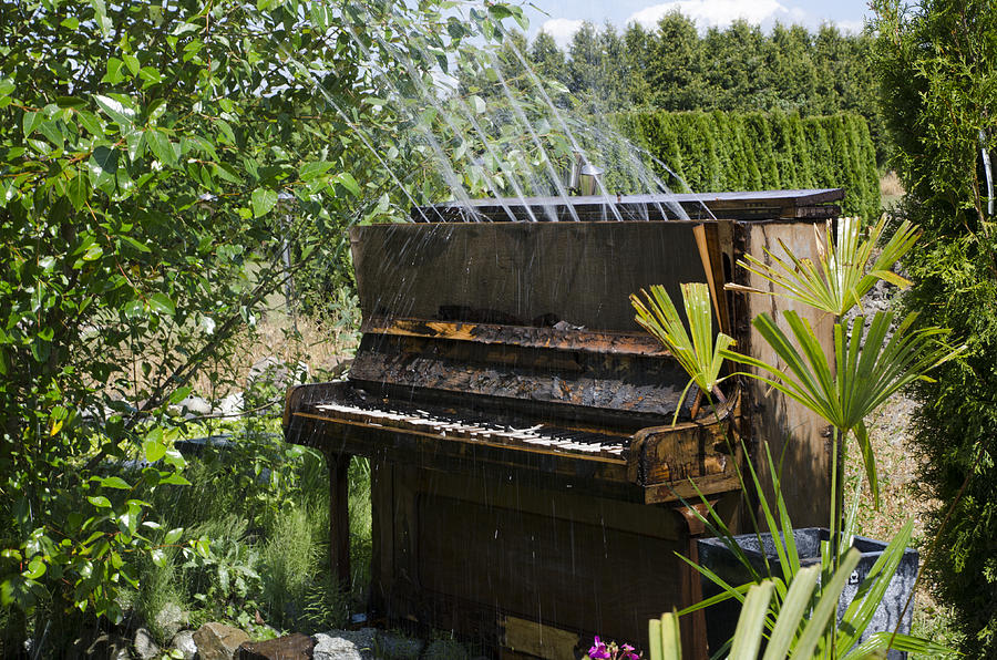 Piano Photograph - Water On My Piano by Irene  Theriau