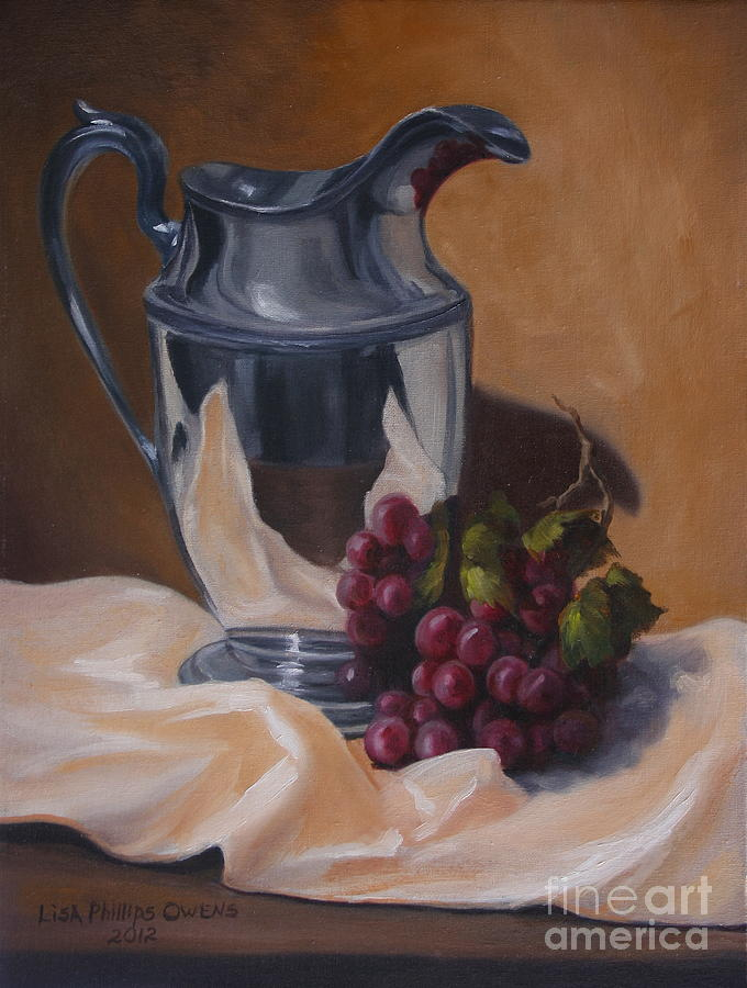 Still Life Painting Painting - Water Pitcher With Fruit by Lisa Phillips Owens