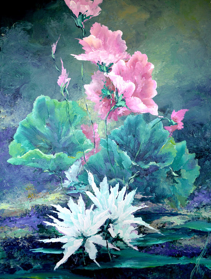 Water Lily Painting - Water Plants by Steven Nevada