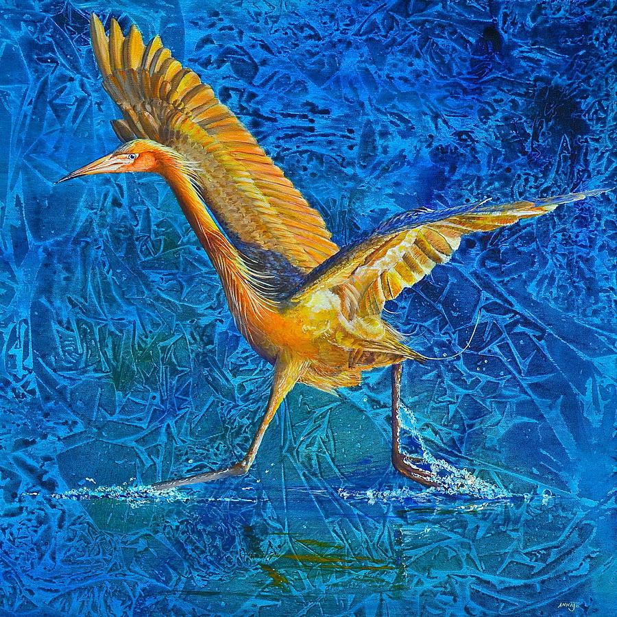 Reddish Egret Painting - Water Run by AnnaJo Vahle