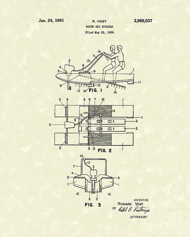 Vogt Drawing - Water Scooter 1961 Patent Art by Prior Art Design