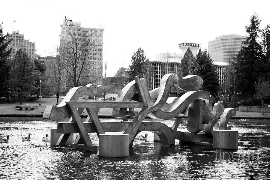 Water Sculpture In Spokane Photograph