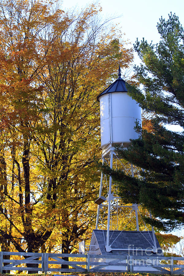 Fall Photograph - Water Tower by Kathy DesJardins