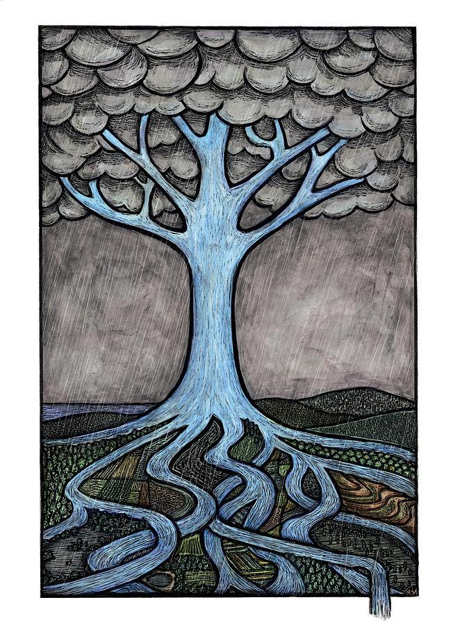 Water Mixed Media - Water Tree by Ricardo Levins Morales