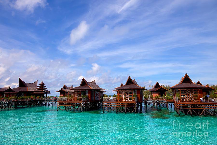 Bay Photograph - Water Village On Mabul Island Sipadan Borneo Malaysia by Fototrav Print