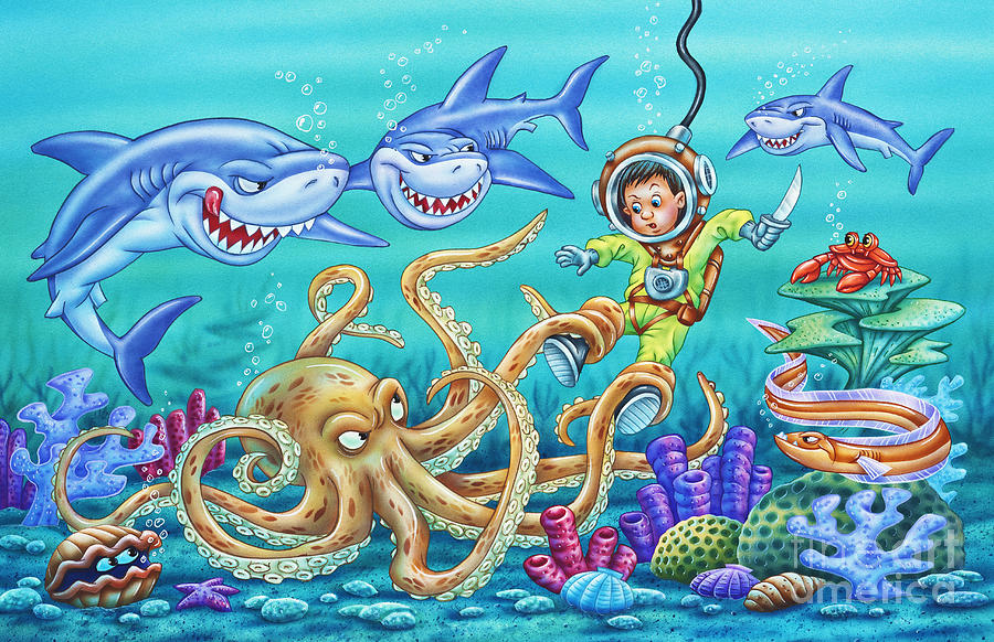 Octopus Painting - Water Warrior by Phil Wilson