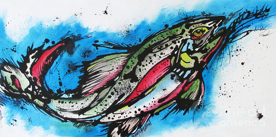 Rainbow Trout Painting - Water Way by Nicole Gaitan