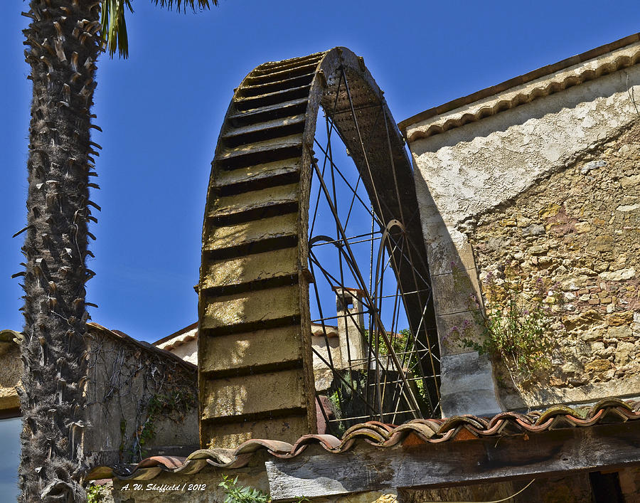 Opio Photograph - Water Wheel At Moulin A Huile Michel by Allen Sheffield