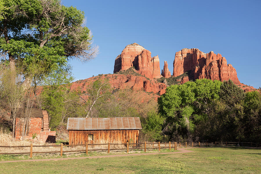 Water Wheel, Barn, And Cathedral Rock Photograph by Picturelake